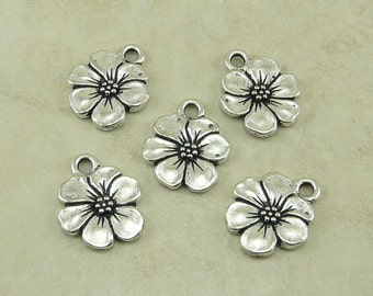 Apple Blossom Flower Charms > Daisy Pansy Magnolia Posie Spring TierraCast Qty 5 - Silver Plated LEAD FREE Pewter I ship Internationally NP