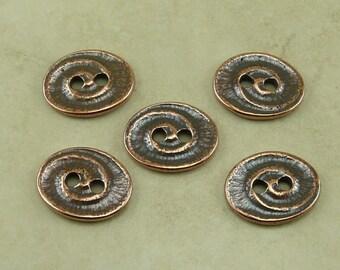 5 TierraCast Swirl Buttons > Ocean Beach Coast Summer Ammonite Shell Fossil - Copper Plated LEAD FREE Pewter - I ship Internationally 6574