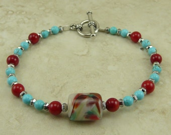 Turquoise & Coral Lampwork Bead and Stone Bracelet - Red Silver Sundance Western Casual Cowboy Cowgirl - I ship Internationally