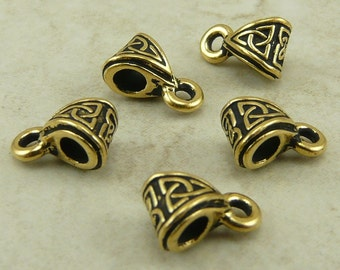 5 TierraCast Celtic Knot Bails > Irish Triquetra Triangle St Patricks Day - 22kt Gold Plated Lead Free Pewter - I ship Internationally 5513