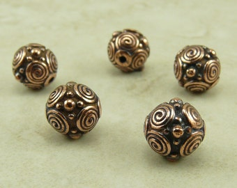 5 TierraCast 8mm Spiral Circles Beads > Swirl Celtic Circle Zen Doodle Bali Style Copper Plated Lead Free Pewter - I ship Internationally NP