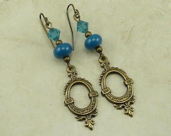 Steampunk Romantic Vintage Looking Lampwork Bead & Swarovski Earrings - Teal Aqua Blue Green Cerulean - Brass Ox French Ear Wires