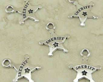 5 TierraCast Sheriff Badge Charms * Police Law Enforcement Deputy - Silver Plated Lead Free Pewter - I ship Internationally NP