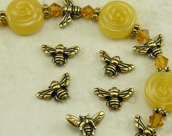 Honeybee Honey Bee Beads TierraCast Qty 5 > Bumble Honeybee Insect Bug - 22kt Gold Plated Lead Free pewter - I ship Internationally NP
