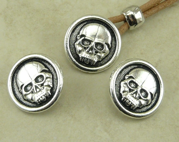 Featured listing image: 3 TierraCast Scary Skull Buttons > Skeleton Day of the Dead Halloween Gothic - Silver Plated LEAD FREE Pewter - I ship Internationally 6572