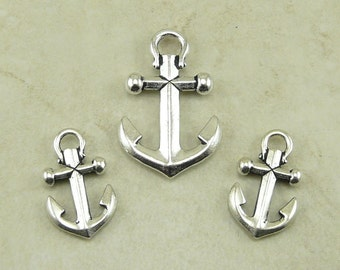 TierraCast Ship Anchor Pendant and Charm Mix Pack - Fine Silver Plated Lead Free Pewter - I ship Internationally