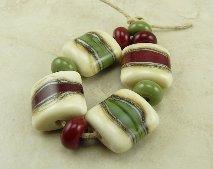 Featured listing image: Made to Order - Rustic Christmas Lampwork Bead Set - Red Green Silvered Ivory Sage Cranberry Artisan Glass Beads SRA I ship Internationally