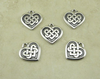 Large Heart Shaped Celtic Knot Charms > Love Irish Ireland Qty 5 TierraCast Fine Silver Plated Lead Free Pewter - I ship Internationally NP