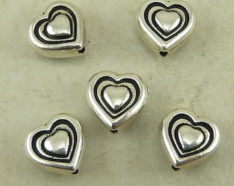 5 TierraCast Heart Beads > Valentine Love Bride Bridal Wedding Mothers Day - Silver Plated LEAD FREE Pewter - I ship Internationally 5545