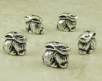 5 TierraCast Bunny Rabbit Beads > Easter Spring Fluffy Garden - Silver Plated LEAD FREE pewter - I ship internationally 5620