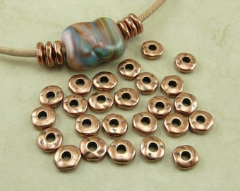 25 TierraCast 7mm Nugget Heishi Spacer Beads 2mm Large Hole * Copper Finish Plated Lead Free Pewter - I ship Internationally NP