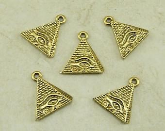 Pyramid Eye of Ra Egyptian Charms Giza King Tut Cleopatra Qty 5 Raw American Made Lead Free Pewter Gold Tone Finish - I ship internationally