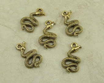 5 Snake Charms > Egyptian Asp Rattle Snake - American made Lead Free Pewter in gold tone finish - I ship internationally