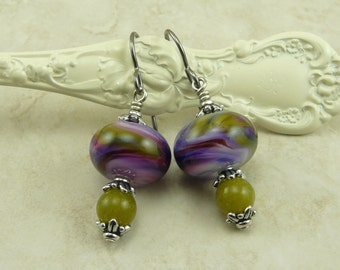 Wine Country Lampwork Bead Earrings - Purple Lavender Lilac Green Flower Floral Grapes Juicy Silver - Hypoallergenic Niobium Ear Wires