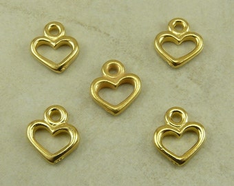 Open Heart Valentine Charm TierraCast > Love Romance Wedding Bride Qty 5 - 22kt Gold Plated Lead Free Pewter - I ship Internationally NP