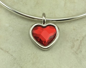 1 TierraCast Light Siam Swarovski Faceted Heart Shape Red Charm Valentine Love Wire Bracelet Crystal - Rhodium Plated LEAD FREE Pewter 6818