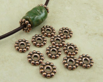 10 TierraCast 10mm Large Hole Daisy Spacer Beads - Copper Plated LEAD FREE Pewter - I ship Internationally 5690