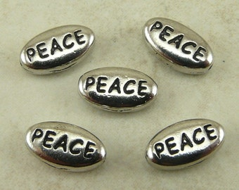 5 TierraCast PEACE Word Beads * World Peace Christmas No War - Rhodium Silver Plated Lead Free Pewter - I ship internatioanally  NP