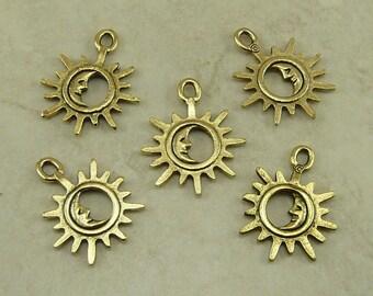 5 Open Crescent Moon In Sun Charms > Lunar Luna Solar Sol Stellar Summer - Gold Tone American Made Lead Free Pewter - I ship internationally