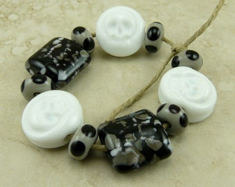 Skulls and Tombstones Lampwork Bead Set - Halloween Scary Grave Yard Bones Black Gray Polka Dots All Hallows Eve Skeleton - SRA Artisan