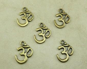 5 Large TierraCast Om Ohm Aum Pendant Charms * Mantra Vedas Meditation Yoga - Brass Ox Plated Lead Free Pewter - I ship Internationally NP