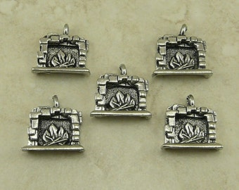 5 Hearth Fireplace Charms > Cabin Harry Potter Floo Network Powder Fire Place Raw Lead Free Pewter Silver Made in USA I ship Internationally