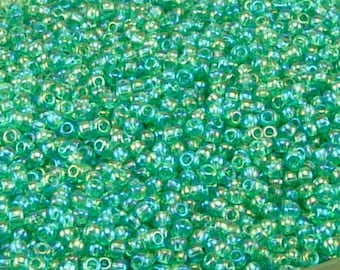 TOHO 11/0 Round Seed Beads - Transparent Rainbow Dark Peridot Green - 20 gram Bag - Spring Grass Easter St Patricks - Color Code 164B Jar 58