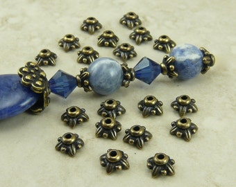 5mm Small Leaf Bead Caps > Leaves Floral Flower TierraCast Qty 20 - Brass Ox Plated Lead Free Pewter - I ship Internationally NP 5570