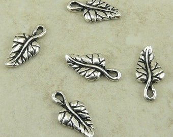 Ivy Leaf Charms > Leaves Garden Spring Fairy Flower Floral TierraCast Qty 5  Silver Plated Lead Free pewter - I ship Internationally NP