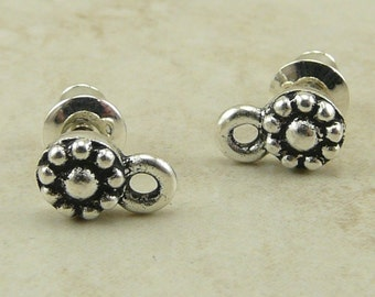 1 Pair Small Beaded Earring Post - Tierra Cast Silver Plated Lead Free Pewter - I ship Internationally