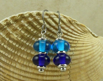 Deep Blue Sea Lampwork Bead Earrings > Sea Beach Aqua Cobalt Summer Coast Coastal - Hypoallergenic Niobium Ear Wires