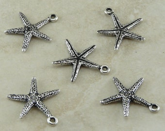 5 TierraCast Star Fish Seastar Sea Star Charms > Beach Ocean Life Creature - Silver Plated LEAD FREE Pewter - I ship internationally 2232