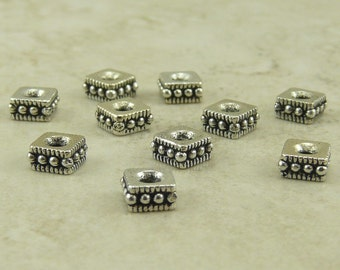 10 TierraCast Small 4mm Rococo Square Spacer Beads > Fine Silver Plated Lead-free Pewter - I ship Internationally 0427