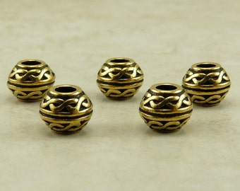 5 TierraCast Celtic Knot Large Hole Spacer Beads > 22kt Gold Plated Lead Free Pewter- I ship internationally 5506