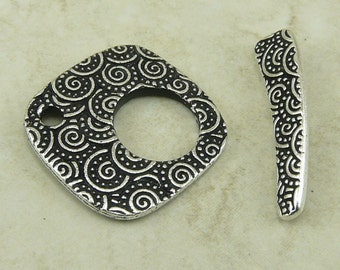 Spiral Toggle Clasp Large TierraCast Qty 1 > Swirl Celtic CirclesTribal Zen Doodle Tangle -  Silver Plated LEAD FREE Pewter NP