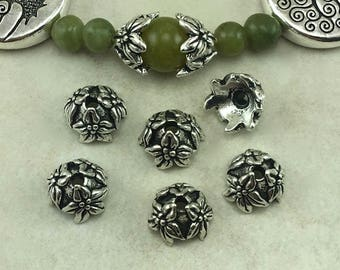 Jasmine Flower Bead Caps 7mm TierraCast Qty 6 > Leaves Plant Tree Spring - Fine Silver plated Lead Free Pewter - I ship Internationally NP