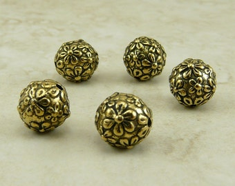 8mm Floral Flower Round Beads > Garden Daisy Rose Spring Bride Qty 5 - TierraCast 22kt Gold Plated Pewter - I ship Internationally NP