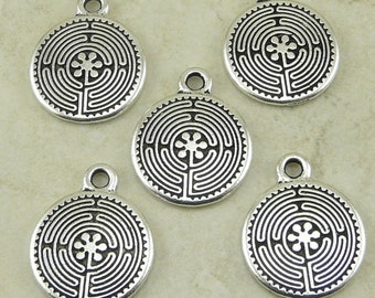 5 Small TierraCast Labyrinth Maze Charms * Serenity Meditation Zen - Fine Silver plated Lead Free Pewter - I ship Internationally NP
