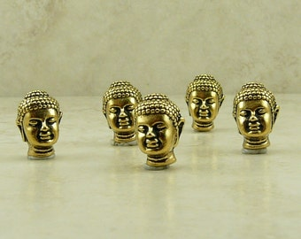 5 TierraCast Buddha Head Beads * Buddhist Spiritual Enlightenment Zen - Lead Free 22kt gold plated Pewter - I ship internationally 5718