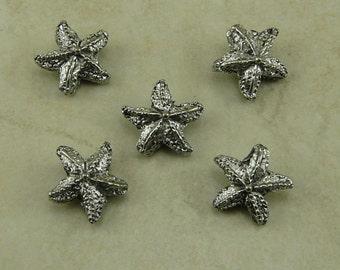 5 Star Fish Starfish Beads > Sea Star Ocean Beach - Raw American made - Lead Free Pewter - I ship internationally