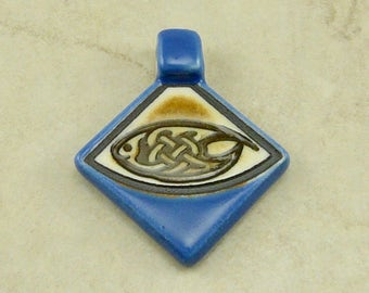 "Small Blue Celtic Triangle Pendant - Oval Knot Knotwork Irish St Patricks Day Ivory Brown Clay River Designs 1 1/4"" I ship Internationally"