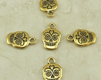 Sugar Skull Day of the Dead Charms > Halloween Gothic Qty 5 TierraCast 22kt gold plated Lead Free Pewter - I ship Internationally NP