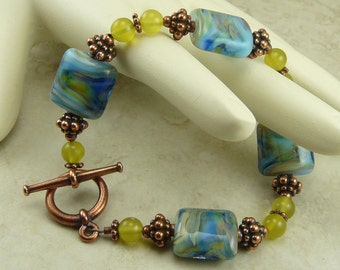 Casual Blue Jeans - Lampwork Bead Bracelet with Copper and Jadeite - I ship Internationally