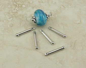 5 TierraCasst 3/4 inch Bead Bars with Ball End > Lampwork Large Hole Bead Bar Rhodium Plated Lead Free Pewter - I ship Internationally 2240