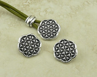 Flower of Life Buttons > Floral Pattern Texture Wrap Button Qty 3 - TierraCast Silver Plated LEAD FREE Pewter - I ship Internationally NP