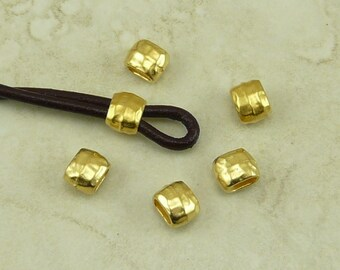 Barrel Crimp Spacer Beads 4x2mm ID Hammertone Hammered Small TierraCast Qty 6  * 22kt Gold Plated Lead Free Pewter NP