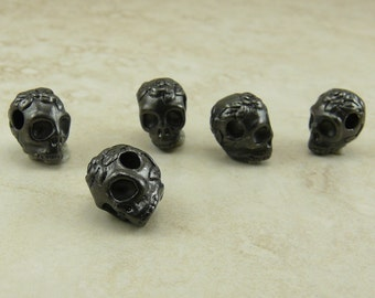 Rose Skull Beads > Goth Gothic Day of Dead Qty 5 TierraCast Horizontal Large Hole Black Ox Plated Lead Free Pewter I ship internationally NP