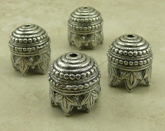 4 Extra Large Maharajah Ornate Bead Cap > Art Deco Victorian Antique Steampunk Nouveau Leaves - Silver Tone American Made Lead Free Pewter