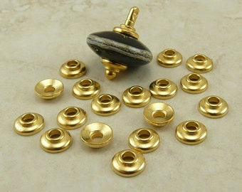 20 TierraCast 7mm Classic Large Hole Bead Caps * Tierra Cast 22kt Gold Plated LEAD FREE pewter - I ship internationally NP