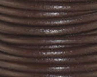 "2mm Round Chocolate Leather Lace Cord - 2mm 3/32"" Diameter Dark Brown Mocha Craft Jewelry Bracelet Wrap Necklace - I ship Internationally"